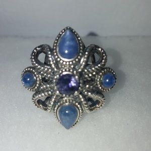 SS Multi Cut Flower Rope Detail Ring Sz.8